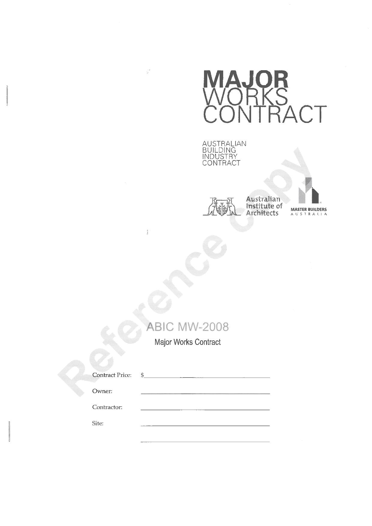 abic mw 2008 major works contract pdf