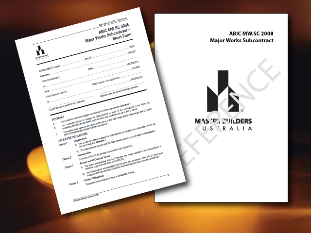 Abic Mw Subcontractors Short Form Pack Master Builders Wa