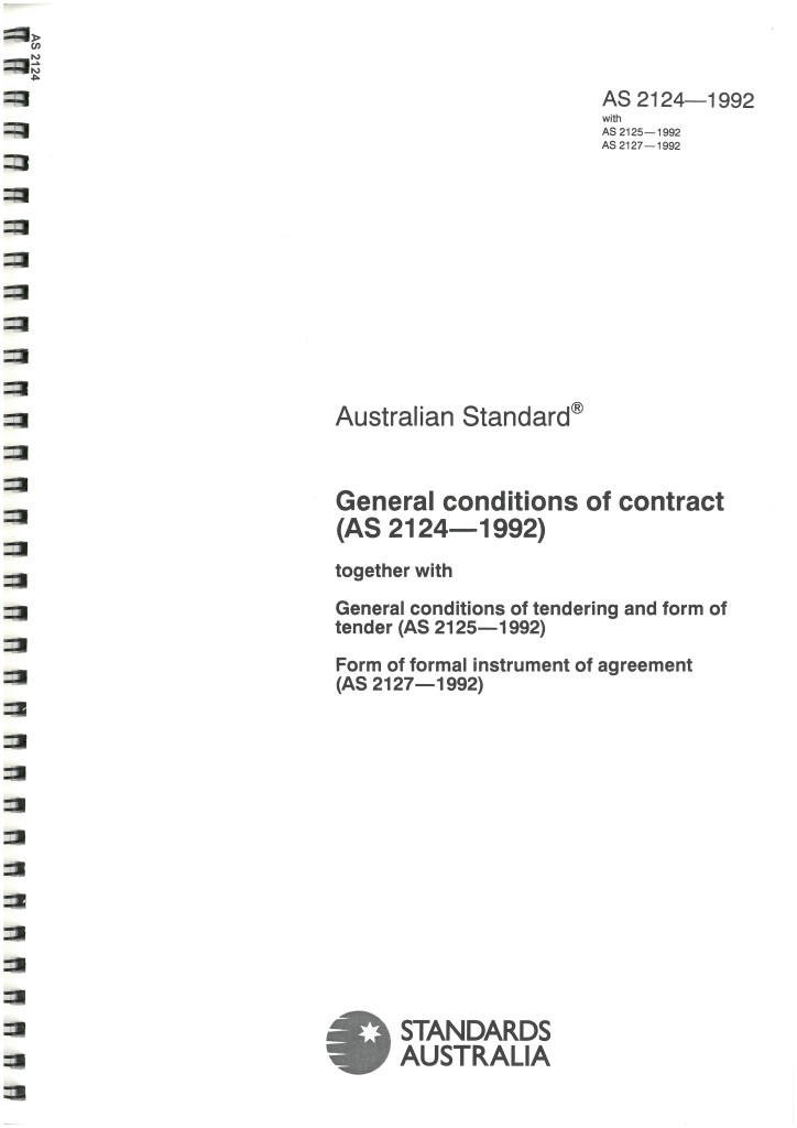 As2124 1992 General Conditions Of Contract And Tendering Form Of
