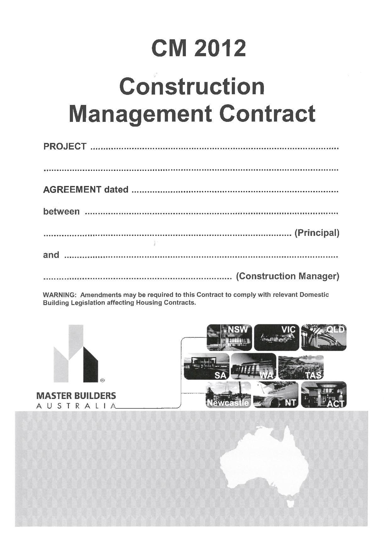 CM 2012 Construction Management Contract Master Builders WA – Construction Management Agreement