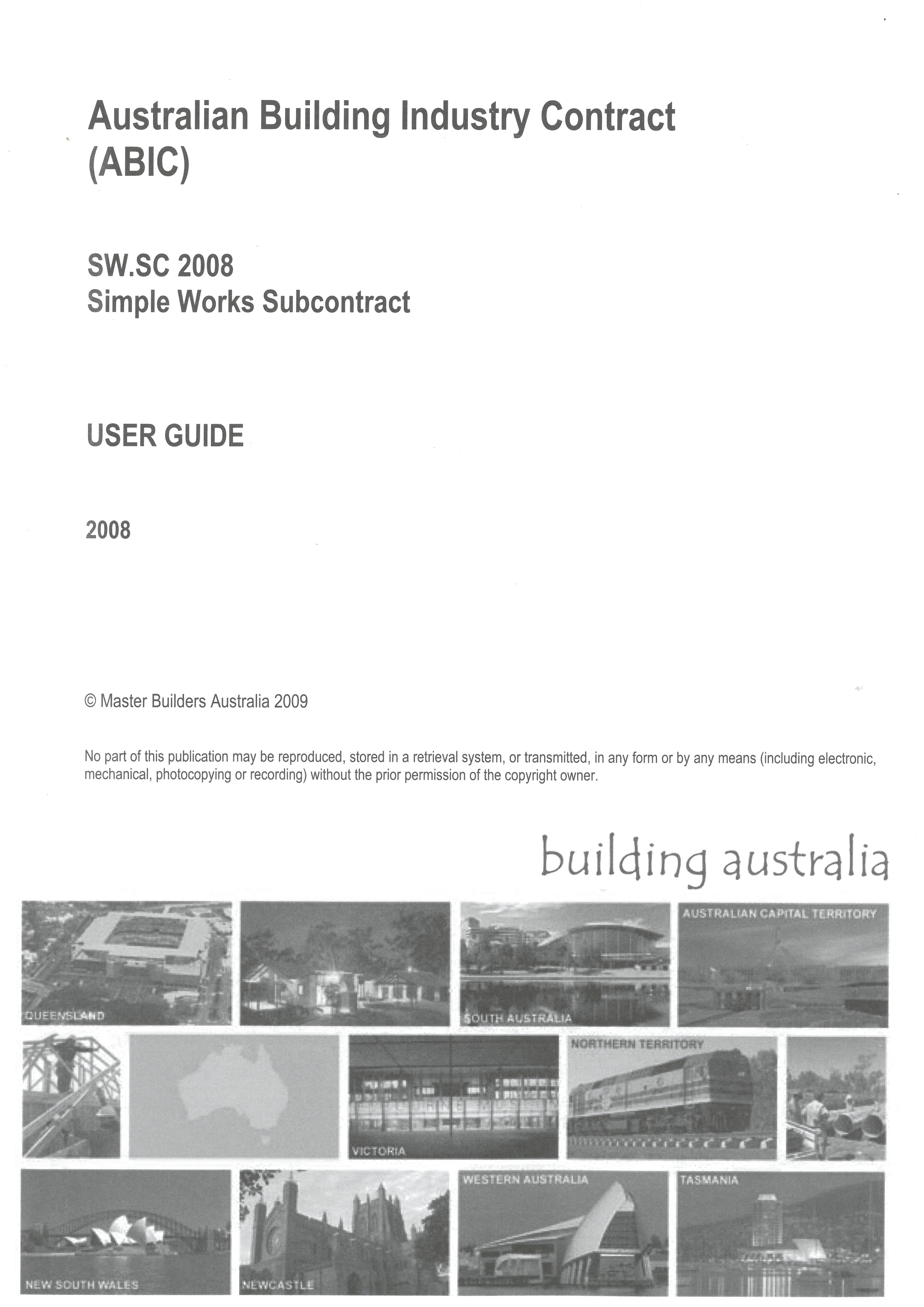 AS 2545 1993 Subcontract Conditions Master Builders
